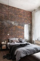 Elegant Rustic Bedroom Brick Wall Decoration Ideas 25