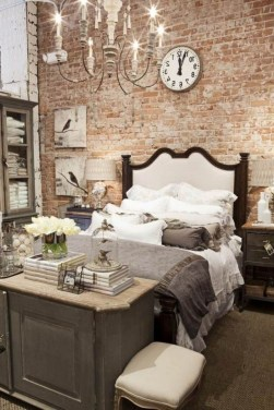Elegant Rustic Bedroom Brick Wall Decoration Ideas 27