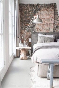 Elegant Rustic Bedroom Brick Wall Decoration Ideas 28