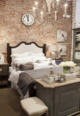 Elegant Rustic Bedroom Brick Wall Decoration Ideas 32