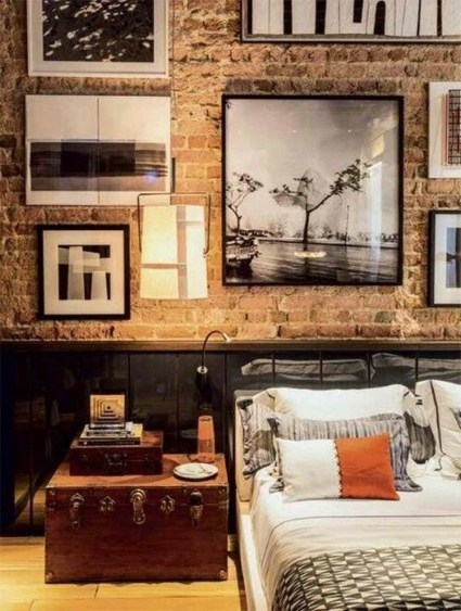 Elegant Rustic Bedroom Brick Wall Decoration Ideas 37
