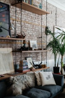 Elegant Rustic Bedroom Brick Wall Decoration Ideas 38