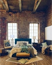 Elegant Rustic Bedroom Brick Wall Decoration Ideas 40
