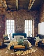Elegant Rustic Bedroom Brick Wall Decoration Ideas 40