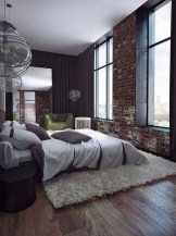Elegant Rustic Bedroom Brick Wall Decoration Ideas 41