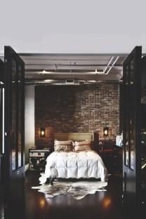 Elegant Rustic Bedroom Brick Wall Decoration Ideas 49