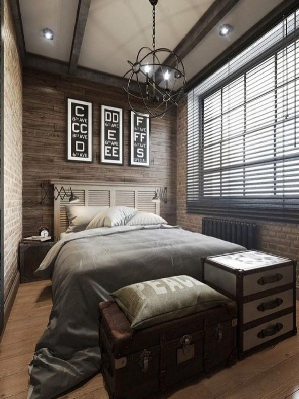 Elegant Rustic Bedroom Brick Wall Decoration Ideas 52