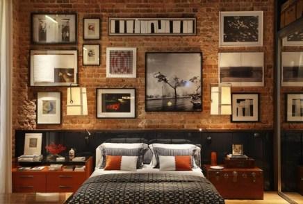 Elegant Rustic Bedroom Brick Wall Decoration Ideas 54