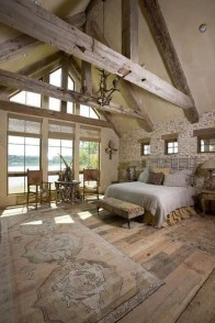 Elegant Rustic Bedroom Brick Wall Decoration Ideas 55