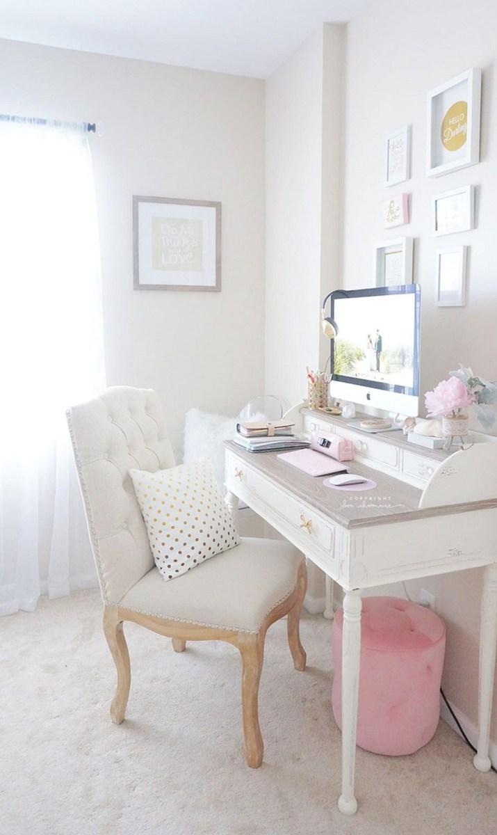 Elegant And Exquisite Feminine Home Office Design Ideas 22