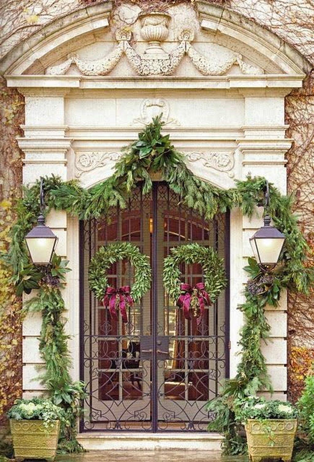 Stunning Front Door Decoration Ideas For Winter 41
