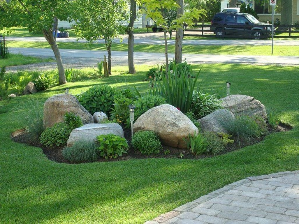 40 Beautiful Front Yard Rock Garden Design Ideas Homedecorish