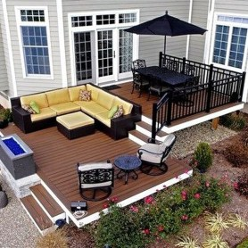 Cozy Backyard Patio Deck Design Decoration Ideas 24