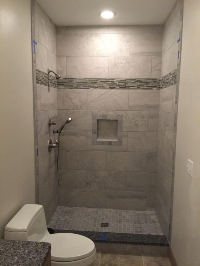 12x24 Grey Wall Tiles Shower Niche 2x2 Mosaic Floor