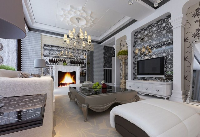2 Interior European Modern Homes Have Antic Chandeliers