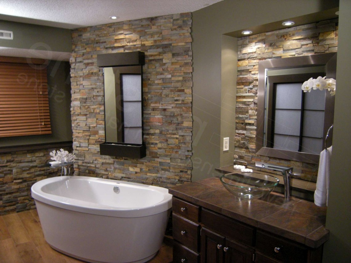 20 Beautiful Bathroom Designs With Stone Walls