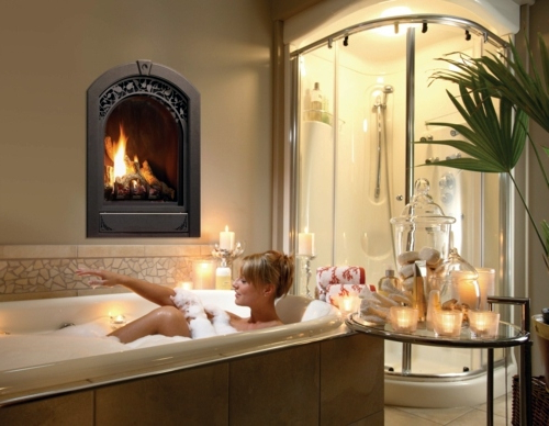 25 Bathroom Designs With Built In Fireplaces Romantic