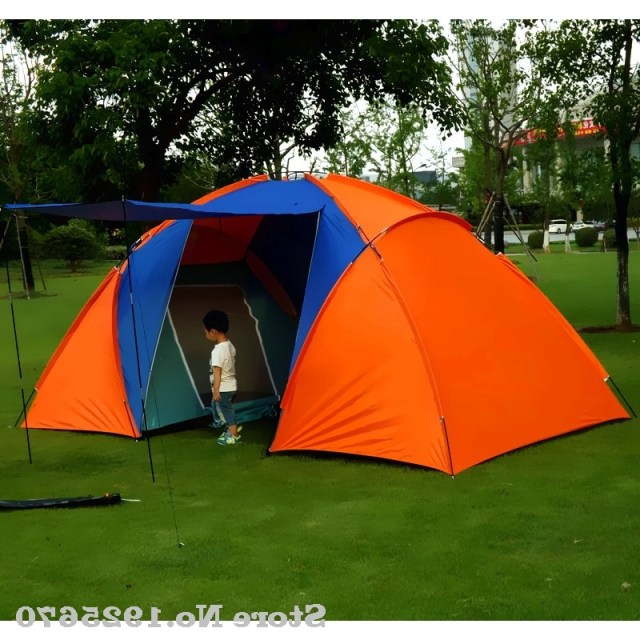 5 6persons Luxury 2room 1hall Double Layer Large Family Outdoor Camping Tent Family Party