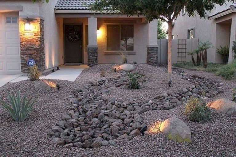 63 Beautiful Front Yard Rock Garden Landscaping Ideas