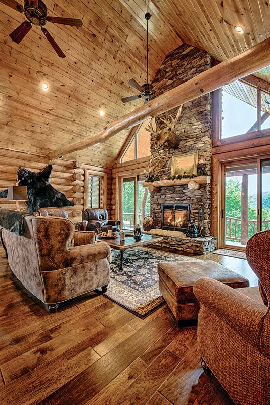 A Mountain Log Home In New Hampshire Log Home Interiors