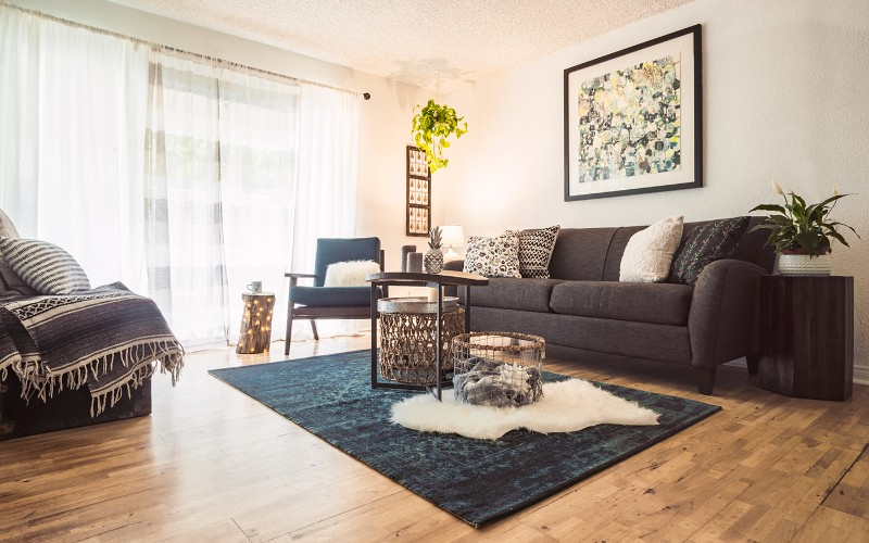 A Scandinavian Living Room With A Cozy Mid Century Charm
