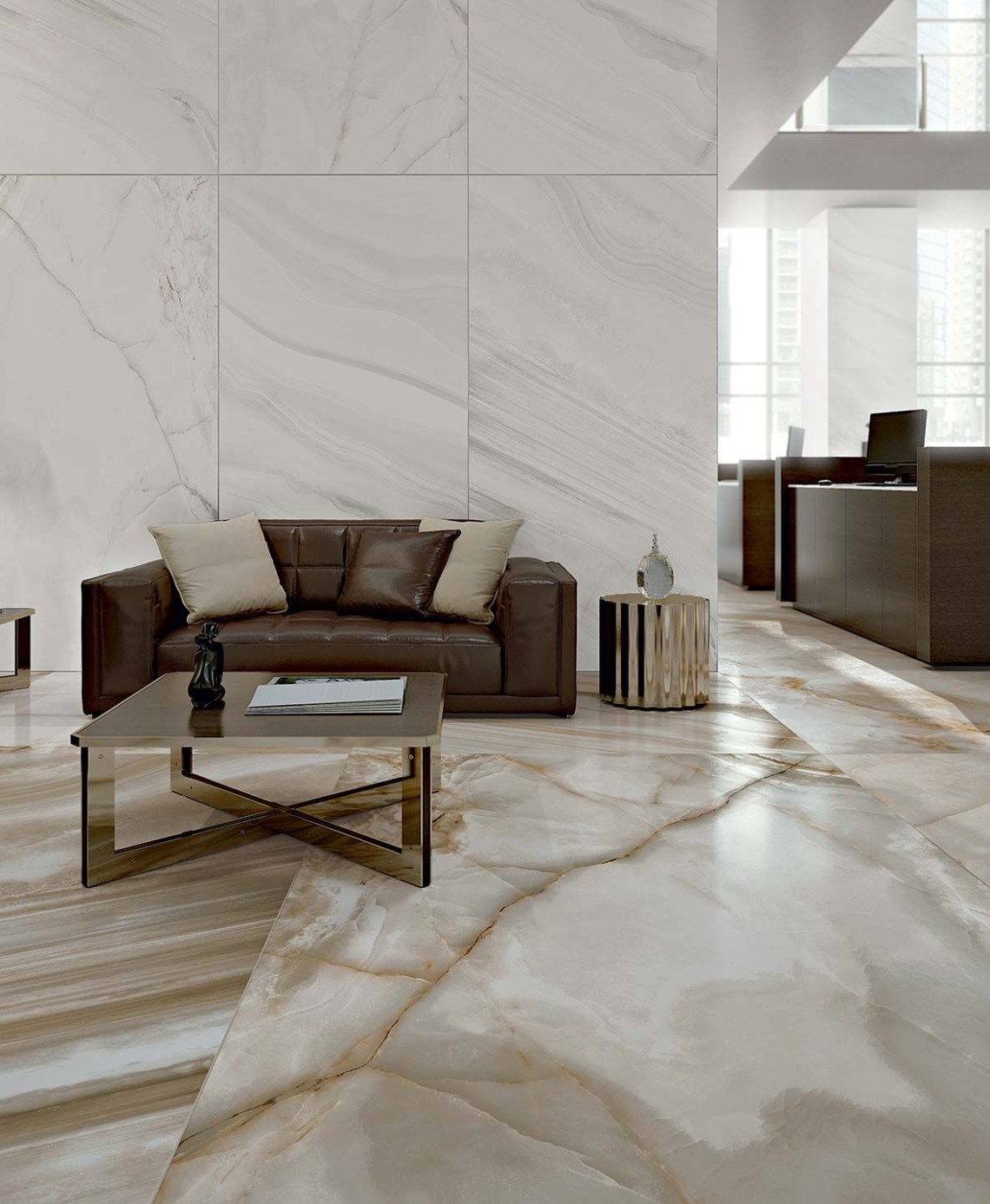 Alabaster Marble Flooring Of Shiny Ceramic Tiles