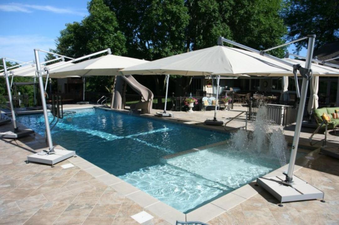 Awesome 10 Rectangle Pools Design With Sun Shelf Ideas
