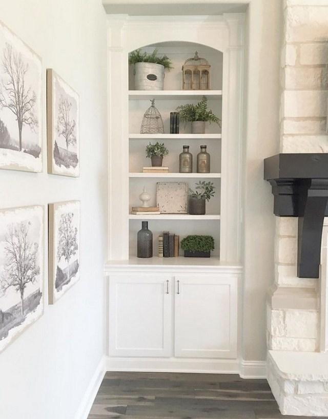 Beautiful Simple Bookshelf Styled In Farmhouse Design