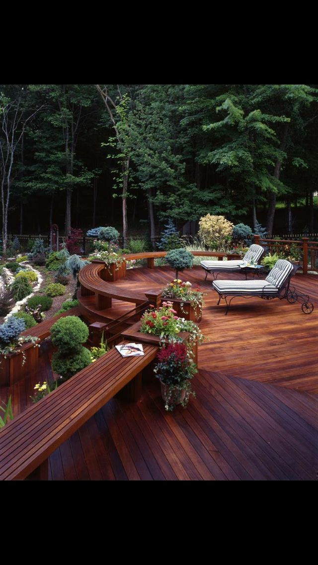 Beautiful Spacious Varnished Wooden Deck Patio Overlooking