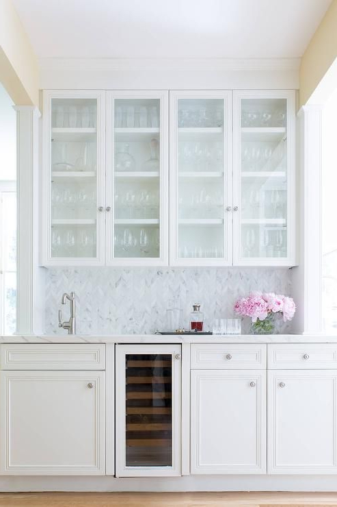 Beautiful White Wet Bar Features Glass Front White