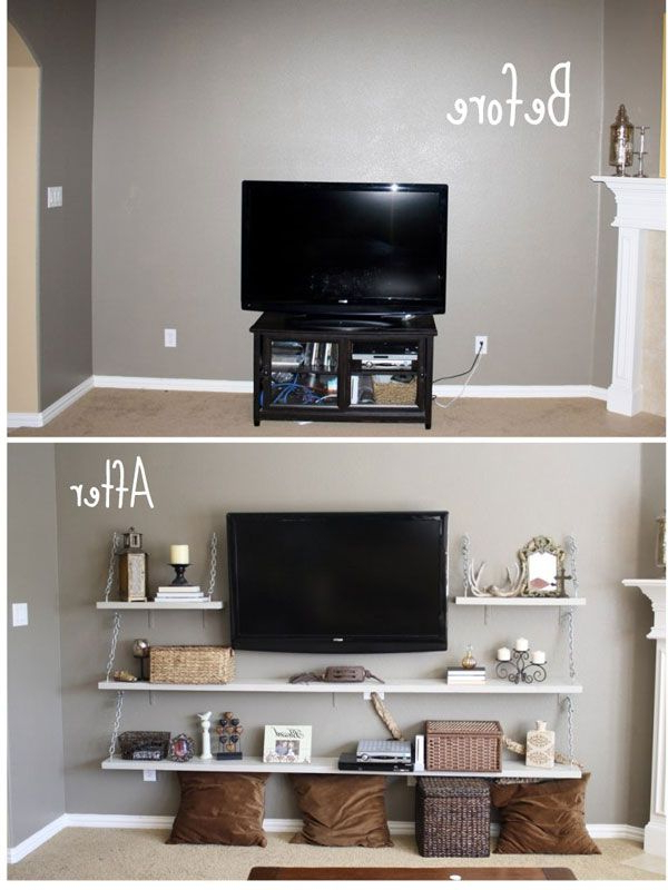 Before Plain Living Room With Tv After Amazing