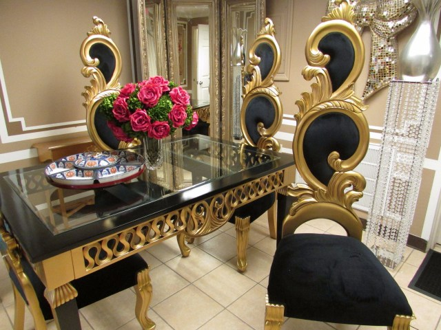 Black And Gold Baroque French Reproduction Decorator