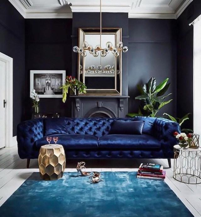 Black Living Room With Sapphire Furnishings Black Living