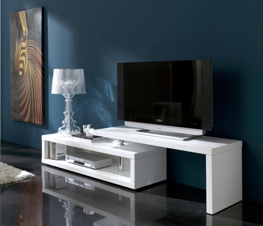 Blanco Modern Extending Tv Unit In White High Gloss