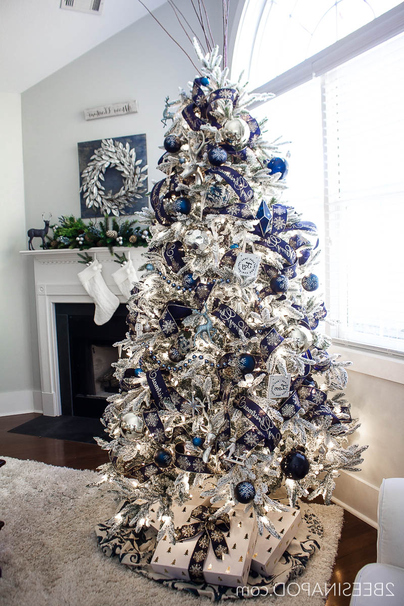 Blue And Silver Christmas Tree For The Living Room 2