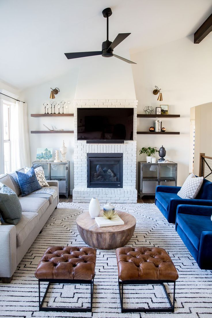 Blue Velvet Chairs White Brick Fireplace House Of Jade