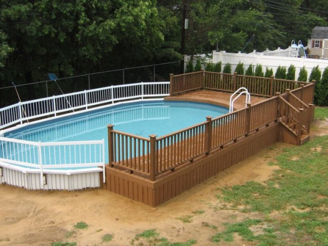 Brown Wooden Above Ground Pool Deck Which Mixed With White
