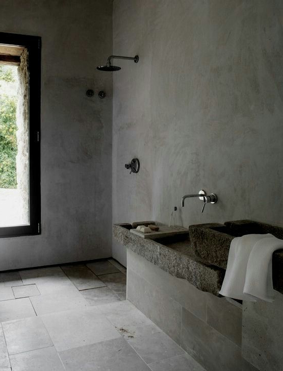 Cement Screed Walls For Bath Area Concrete Bathroom