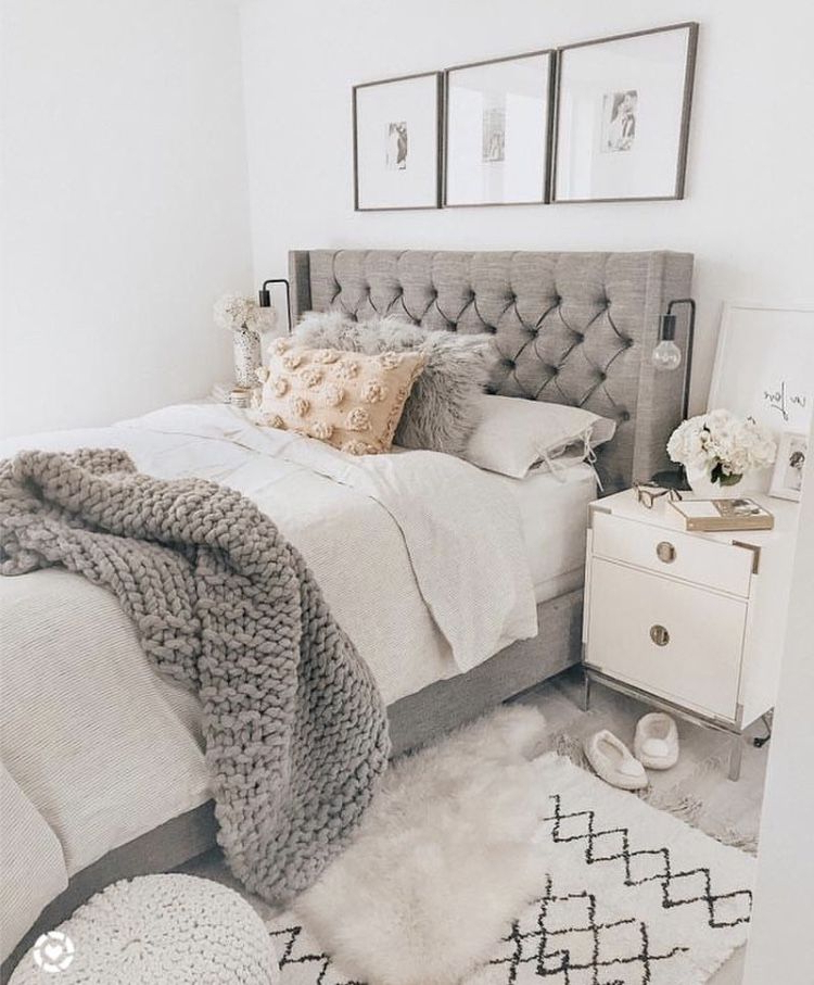 Chunky Knit Throw Fabric Headboard Neutral Decor Palette