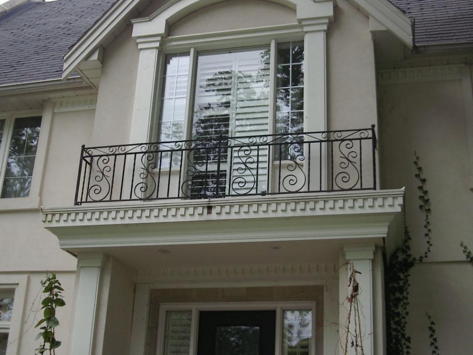 Classic Ornate Iron Black Balcony Railing Fence Large