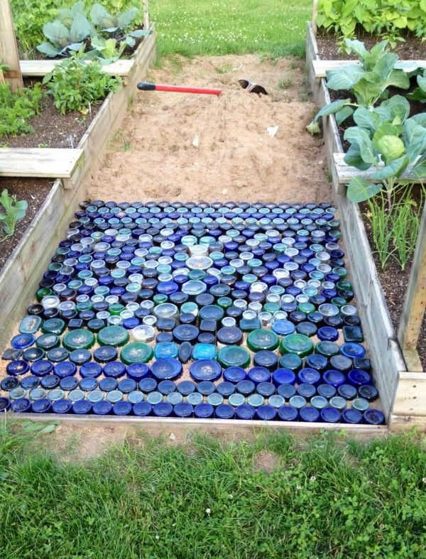 Colored Glass Bottle Bottom Path For Your Garden In