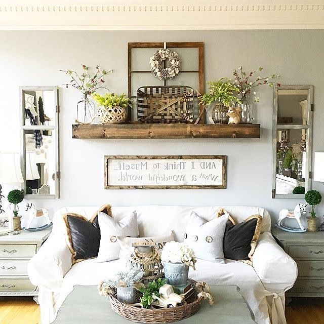 Comfy Farmhouse Living Room Designs To Steal Shelf Over Couch Wohnzimmerdekoration