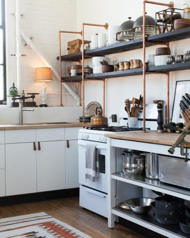 Copper And Wood Open Shelves Are Great Additions To