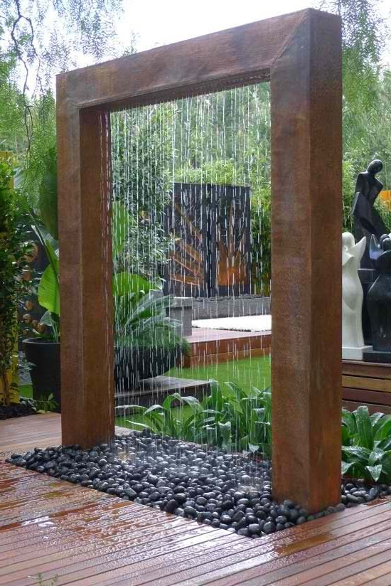 Copper Rain Shower In 2020 Water Features In The Garden