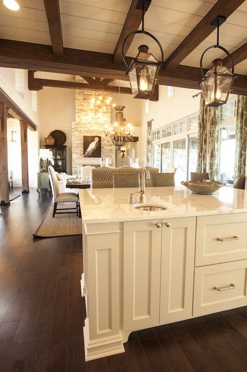 Cottage Kitchen With Rustic Wood Beams Layered Over White