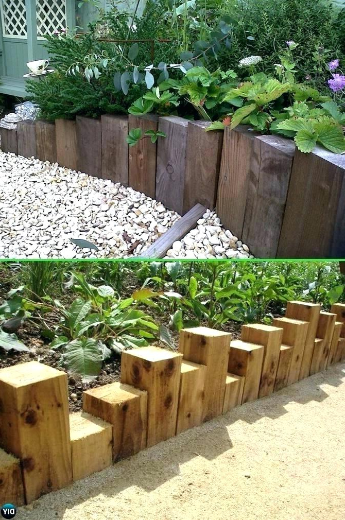 Creative Garden Edging Ideas Bed Wood Block Best Natural