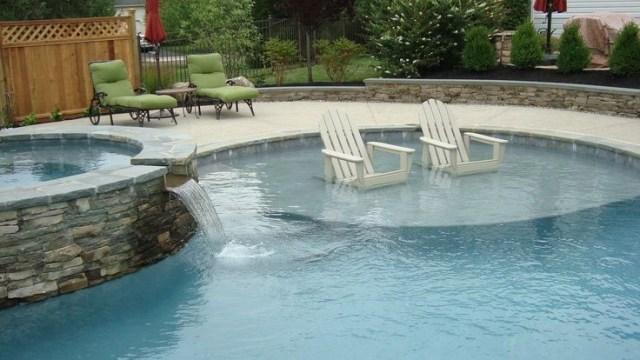 Custom Swimming Pool With Sun Shelf And Raised Spa