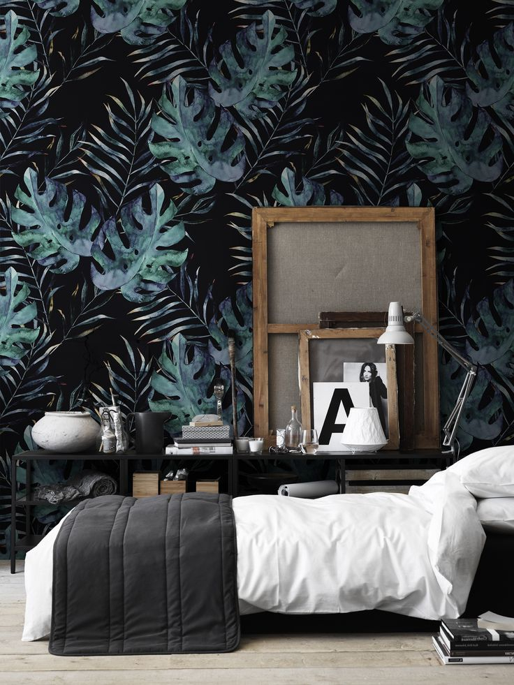 Dark Monstera Removable Wallpaper Decor Peel Stick