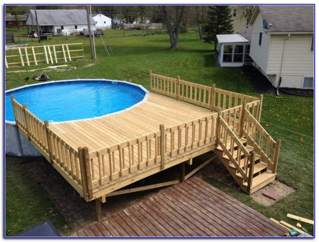 Decks Amazing Above Ground Pool Deck Kits For Your
