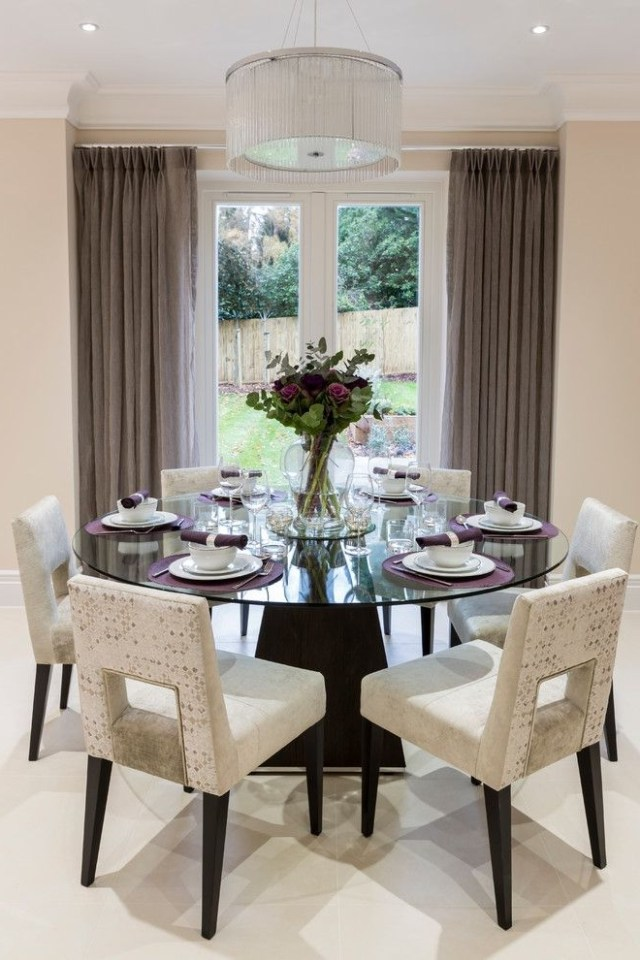 Decorative Dining Room Transitional Design Ideas For French Round Round Dining Room Table